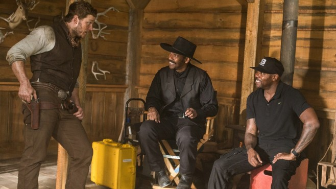 Die glorreichen Sieben: Chris Pratt, Denzel Washington, Antoine Fuqua © Sony Pictures Releasing GmbH