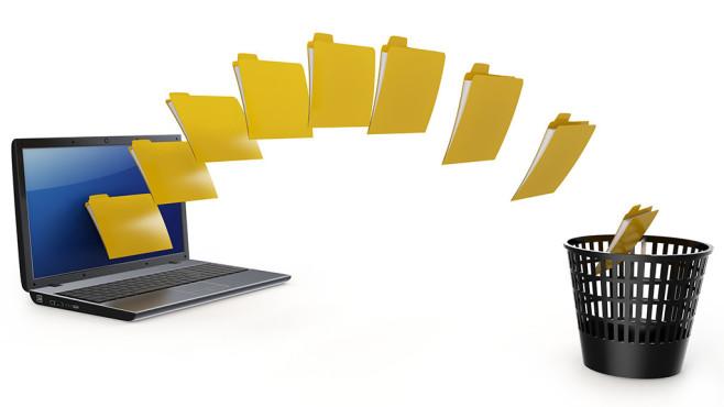 VSS machen Datei-Schredder nutzlos ©dny3d---Fotolia.com - 3d laptop data transfer to deleting recycle bin