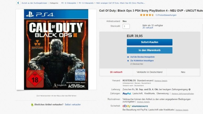Call of Duty Cover © Ebay