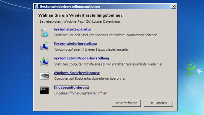 Systemstartreparatur per Windows-7-DVD ©COMPUTER BILD