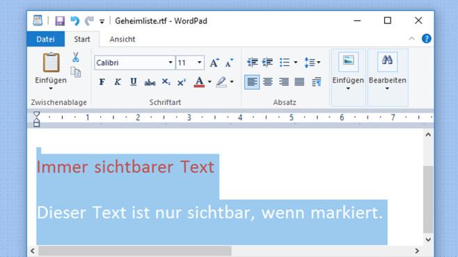 Texte per Schriftfarbe untergehen lassen ©COMPUTER BILD