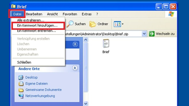 Verschlüsseltes ZIP-Archiv mit XP ©COMPUTER BILD