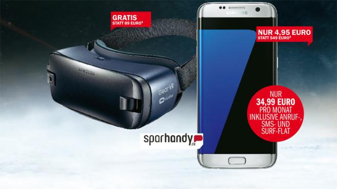 Samsungs Galaxy S7 Edge und VR-Brille Gear 2 gibt es jetzt zusammen mit der LTE-Allnet-Flat O2 Free M ©Sparhandy, Samsung, COMPUTER BILD