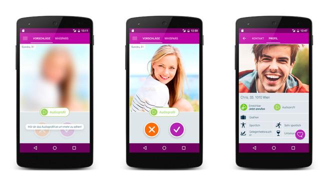 Drei Screenshots aus der Dating-App Whispar ©Whispar, Montage: COMPUTER BILD
