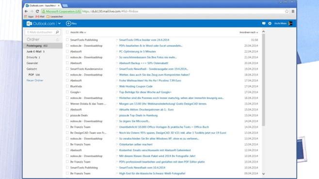 Platz 41: Outlook.com (neu) ©COMPUTER BILD