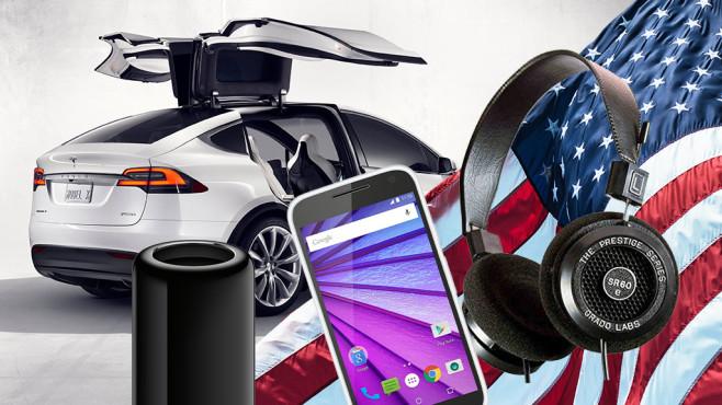 Diese Produkte kommen aus den USA ©Apple, Tesla, Motorola, Grado, ©istock.com/franckreporter