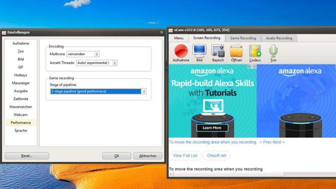oCam: Bildschirmgeschehen aufzeichnen ©COMPUTER BILD
