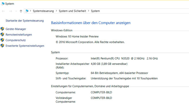 Windows 10 64 Bit © COMPUTER BILD