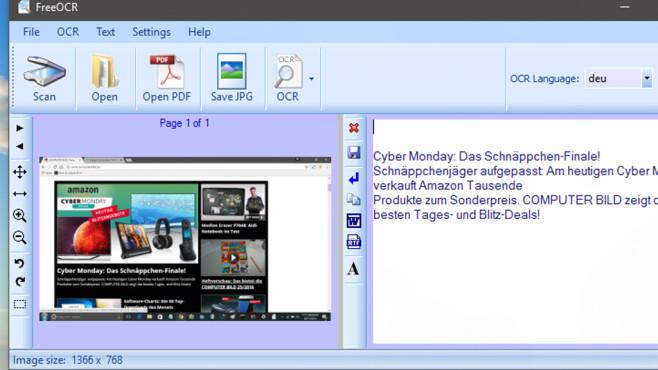 FreeOCR: Texte aus Bildern extrahieren ©COMPUTER BILD