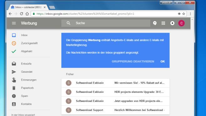 Google Inbox: Mails automatisch ordnen ©COMPUTER BILD