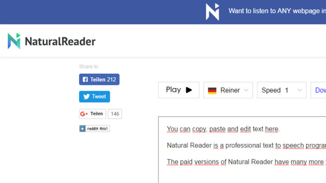 Natural Reader: PC-Stimme im Browser © COMPUTER BILD