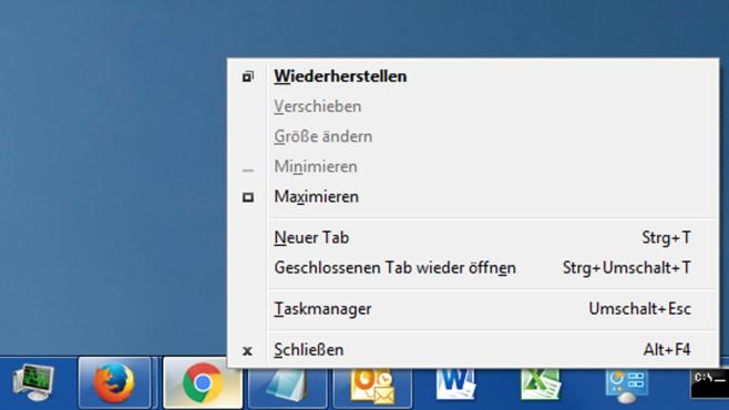 Google Chrome mit erweitertem Kontextmenü ©COMPUTER BILD