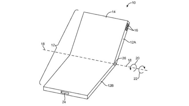 Zeichnung vom faltbaren Apple-Display©US-Patent- und Markenamt
