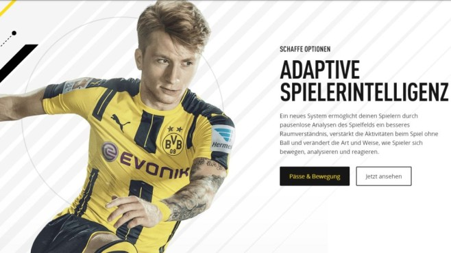 Fifa 17-Screenshot der Website © Electronic Arts