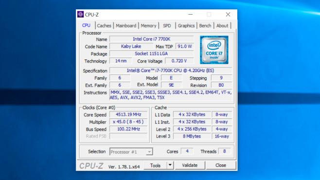 Intel Core i7-7700K – CPU-Z-Screenshot ©COMPUTER BILD