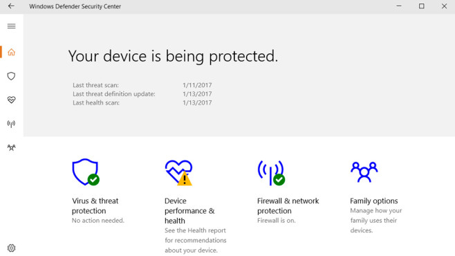 Windows 10: Windows Defender Security Center © COMPUTER BILD