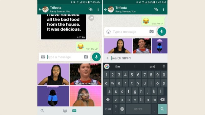 Giphy-Integration in WhatsApp ©AndroidPolice