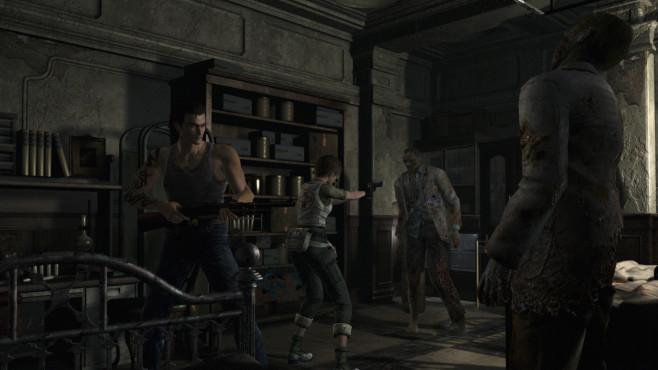 """Resident Evil: Eine Geschichte des Grauens Ein Helden-Paar, das sich in vermeintlich auswegloser Situation tapfer den Untoten entgegenstellt. Dieses Bild aus dem PS4-Remake von """"Resident Evil Zero"""" ist beispielhaft für die altgediente Survival Horror-Serie. ©Capcom"""