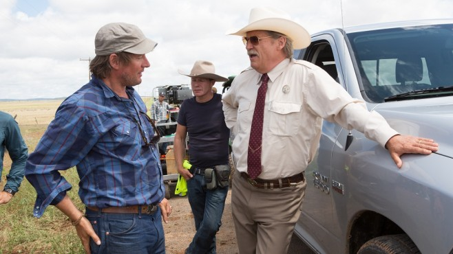 Setfoto Hell or High Water: David Mackenzie, Jeff Bridges, Crew © Paramount Pictures