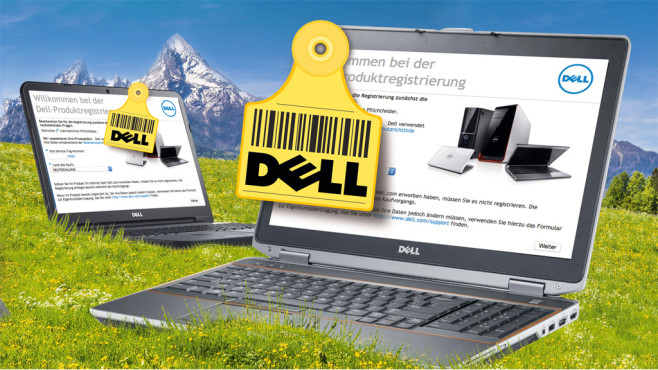 Dell-Notebook auf Wiese © Dell, ©istock.com/bluejayphoto