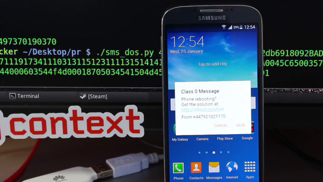 SamsungBug lässt Smartphone neustarten ©Context Information Security