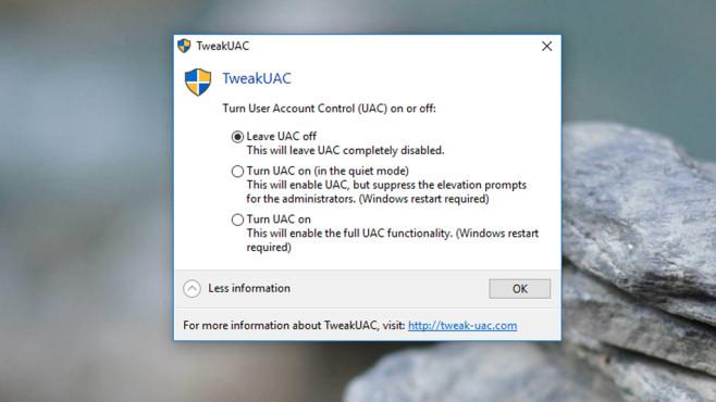 TweakUAC: Warnmeldungen konfigurieren ©COMPUTER BILD