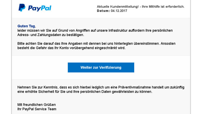 PayPal-Phishing ©Verbraucherzentrale NRW