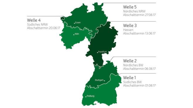 Unitymedia schaltet analoges Kabel-Fernsehen ab Im südlichen Baden-Württemberg schaltet Unitymedia das analoge Kabel-TV zuerst ab, es folgen schrittweise von Süden nach Norden die weiteren Regionen. ©Unitymedia