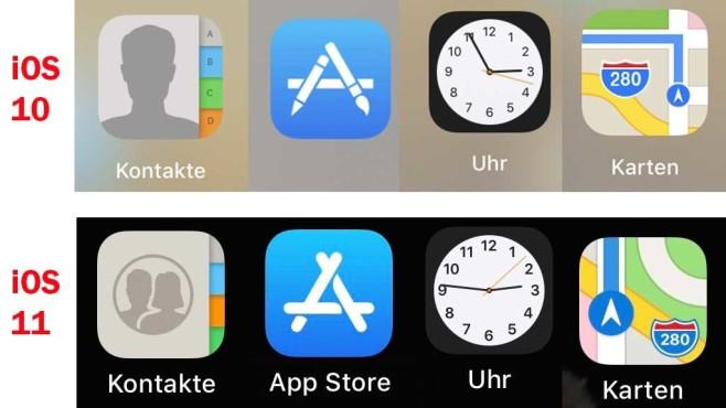 iOS 11 - die neuen Icons ©Screenshot und Montage: COMPUTER BILD