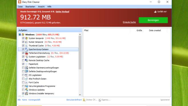 Glary Disk Cleaner: Datenmüll bei XP-Optik ausradieren ©COMPUTER BILD