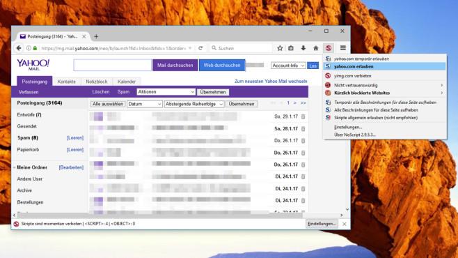 NoScript für Firefox: Yahoo Mail & Co. klassisch nutzen ©COMPUTER BILD