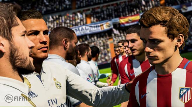 FIFA 18 im First Look: Kick it Like Ronaldo Stelldichein der Superstars: die virtuellen Abbilder von Ronaldo, Griezman & Co. sehen noch realistischer aus. ©EA