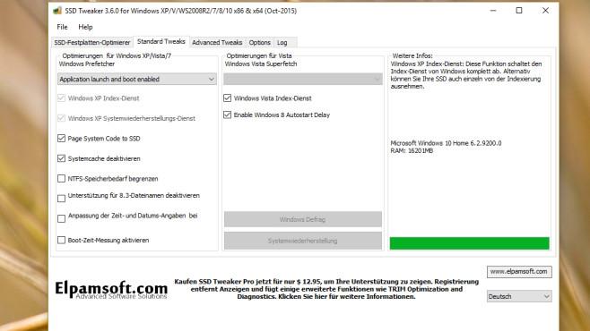 SSD Tweaker: Windows für Flashspeicher optimieren ©COMPUTER BILD