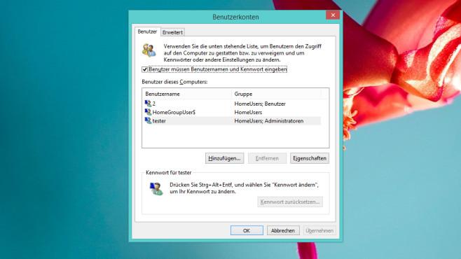 Benutzerkonten (automatisch anmelden) ©COMPUTER BILD