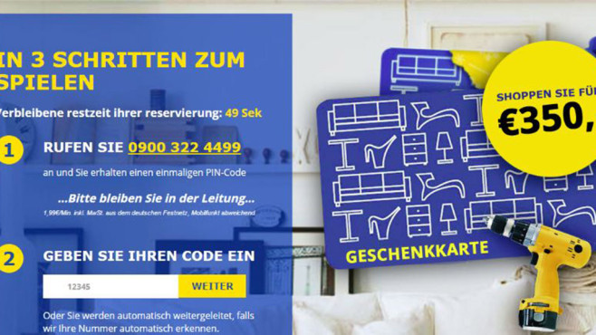 Phishing: Warnung vor angeblichem IKEA-Gewinn ©www.onlinewarnungen.de
