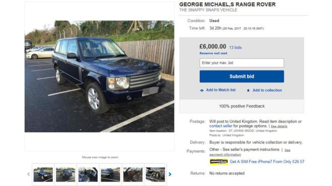 Range Rover von George Michael ©Ebay