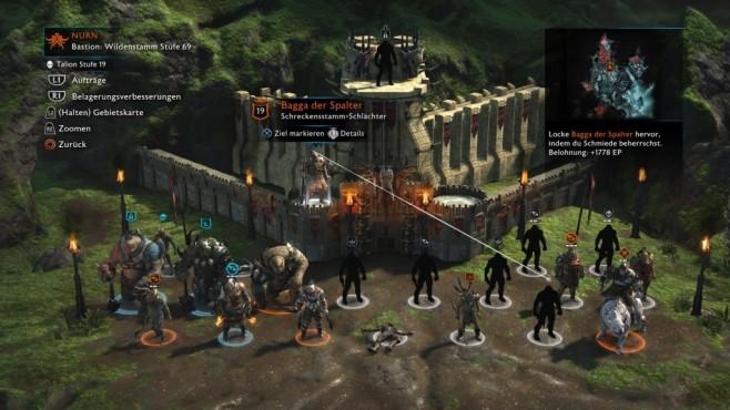 Mittelerde – Schatten des Krieges im Test: Saures für Sauron! Im Armee-Bildschirm sehen Sie Freund und Feind. Allmählich schalten Sie immer mehr Hauptmänner frei und erfahren damit auch gleich deren Schwächen. ©Warner Bros.