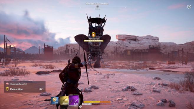 Assassin's Creed – Origins: Ein wilder Ritt! Für Action im Endgame ist gesorgt – so etwa Kämpfe gegen übermächtige Elefanten. ©Ubisoft