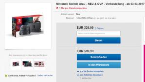 Enorme Preise für Nintendo Switch ©Screenshot: Ebay
