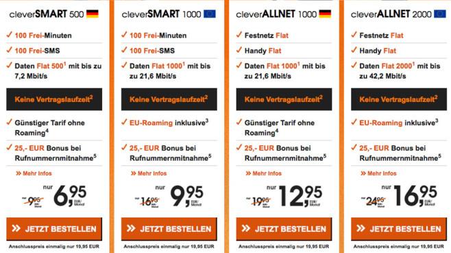 Callmobile-Tarife-Übersicht ©Screenshot Callmobile.de