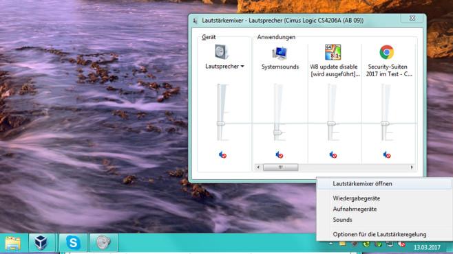 Lautstärke-Dialog: Mixer ©COMPUTER BILD