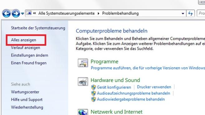 Systemsteuerung: Alle automatischen Problemlöser ©COMPUTER BILD