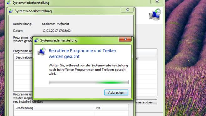 Systemwiederherstellung: Nach betroffenen Programmen suchen ©COMPUTER BILD