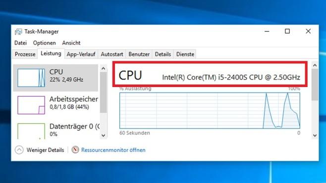 Windows 8/10: Task-Manager-Prozessortakt ©COMPUTER BILD