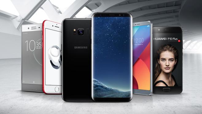 Samsung Galaxy S8 und Co. ©Samsung, Apple, Huawei, Sony, ©istock.com/ breifbluesky