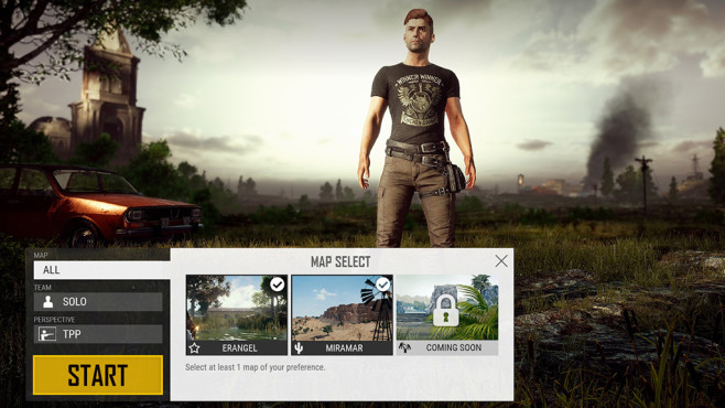 PlayerUnknown's Battlegrounds Map-Auswahl ©PUBG Corp