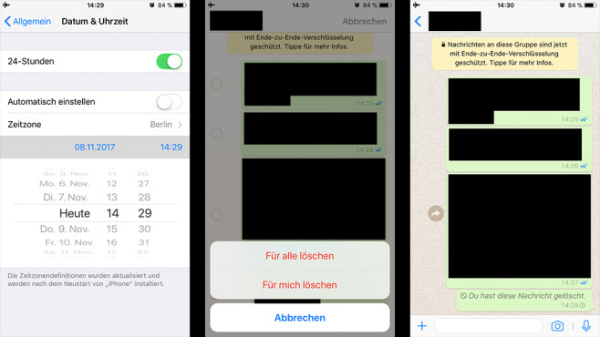 WhatsApp Lösch-Funktion Trick Sieben-Minuten-Frist ©WhatsApp