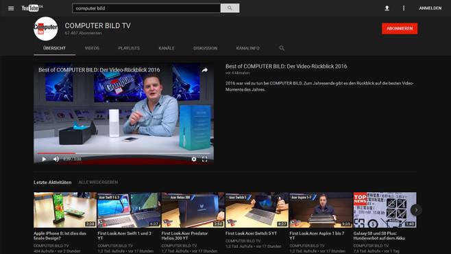 YouTube im Nachtmodus ©COMPUTER BILD