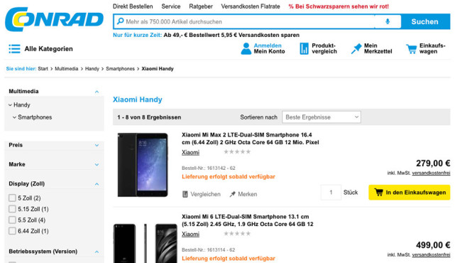 Conrad Shop Xiaomi © Screenshot conrad.de