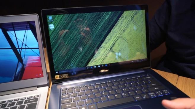Acer Swift 1 und 3 ausprobiert: Ein Hauch von Apples MacBook Spieglein, Spieglein an der Wand: das Swift 3 sieht gerade in Blau elegant aus. Auch der Hochglanz-Bildschirm macht einiges her, spiegelt aber stark. ©COMPUTER BILD